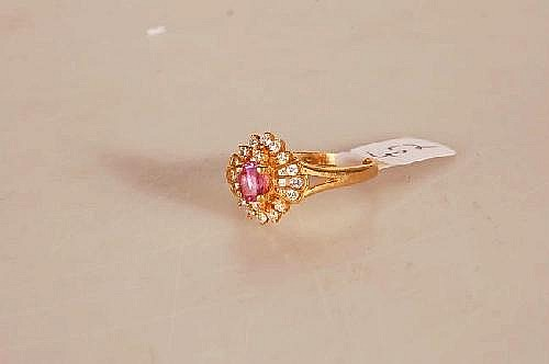 18ct Gold Pink Sapphire & Diamond Cluster Ring