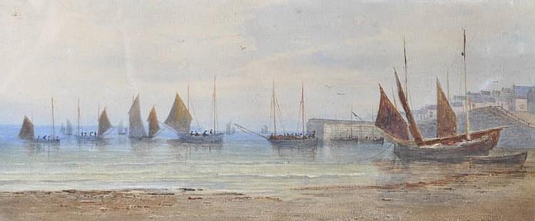 HENRY WILLIAMS Watercolour, Fishing fleet near