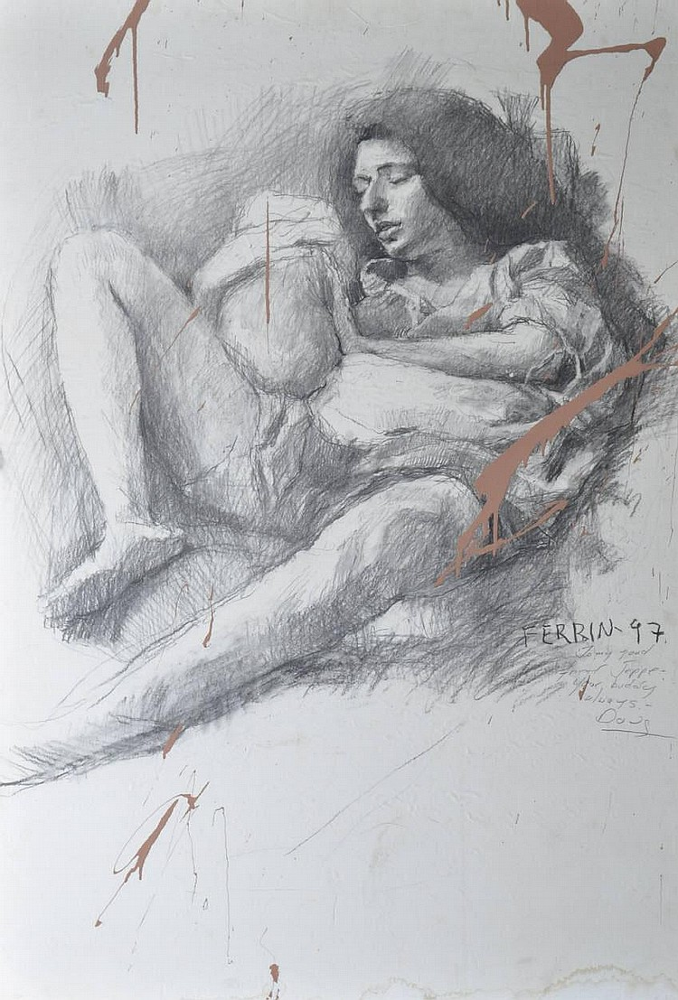 Ferbin large pencil sketch nude female figure
