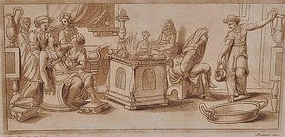 Stefano Mulinari 2 18th century sepia engravings,