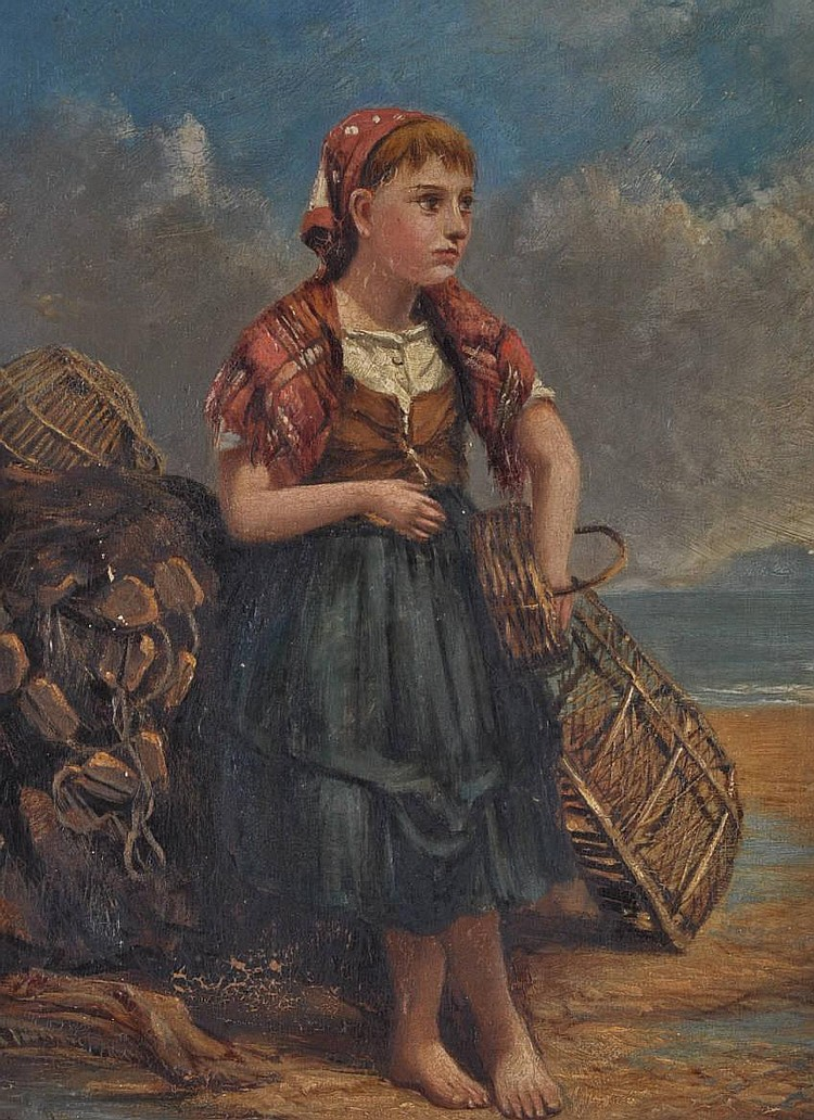 Joseph John Hughes Oil on board, the young fisher