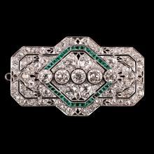 ART DECO DIAMOND & EMERALD PENDANT/ PIN