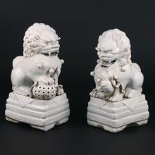 PAIR CHINESE BLANC-DE-CHINE PORCELAIN FOO DOGS