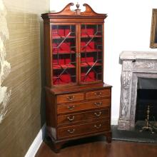 REGENCY INLAID MAHOGANY BUREAU BOOKCASE