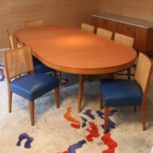 (9pc) JOSEPH ARONSON INC. DINING TABLE & CHAIRS