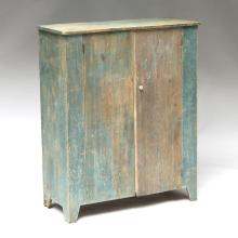 AMERICAN GREEN-PAINTED WALL CUPBOARD
