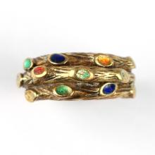 ITALIAN 18k GOLD & ENAMEL RING