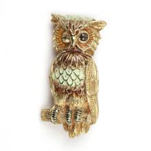 CELLINO ENAMEL, GEMSTONE, & GOLD OWL PIN