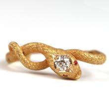 DIAMOND & GOLD SNAKE FORM TIE BAR