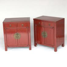 PAIR CHINESE RED LACQUER SIDE CABINETS