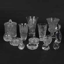 (14pc) MISC. CUT & MOLDED GLASS