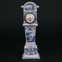 DELFT BLUE & WHITE PORCELAIN MANTEL CLOCK
