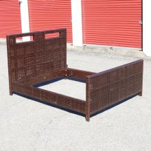 McGUIRE LEATHER LATTICEWORK QUEEN BED