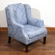WILLIAM IV CARVED MAHOGANY WING CHAIR, C. 1830