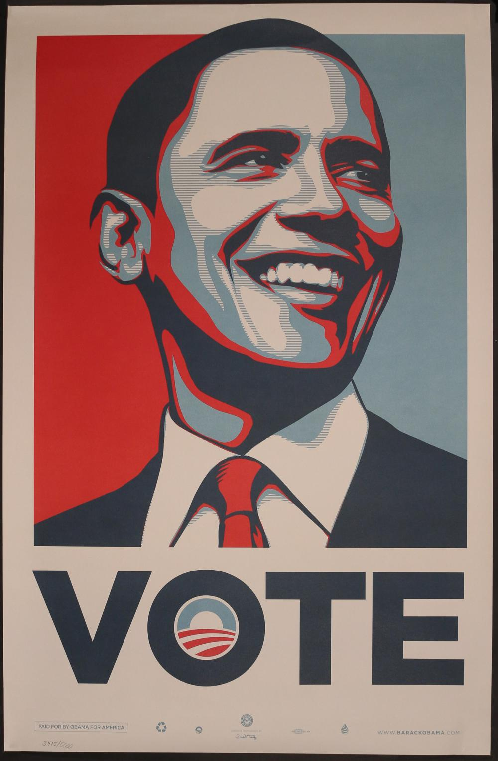Sold Price: SHEPARD FAIREY (American, b. 1970), OBAMA POSTER - Invalid date EDT