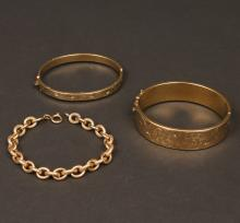 THREE YELLOW GOLD BRACELETS
