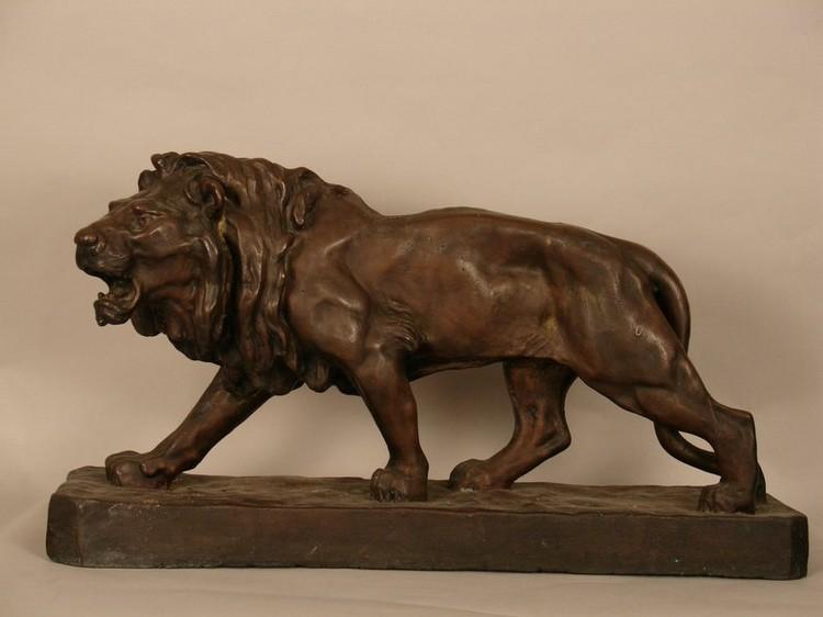 "BRONZED PATINATED MEDICI LION, SGD. JULES AIME DALOU (1833-1902), L. 26"", H. 14"";"