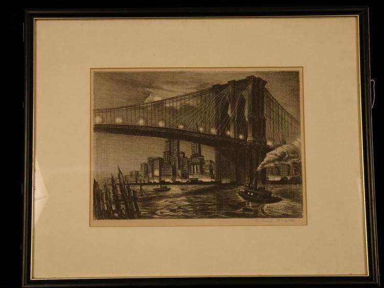 RICHARD BERGERE (FLUSHING, N.Y. 1912---) LITHOGRAPH, TUGBOAT UNDER BROOKLYN BRIDGE, SGD.;