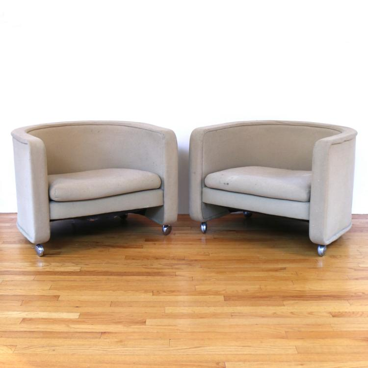 PAIR MID-CENTURY BARREL-BACK CLUB CHAIRS