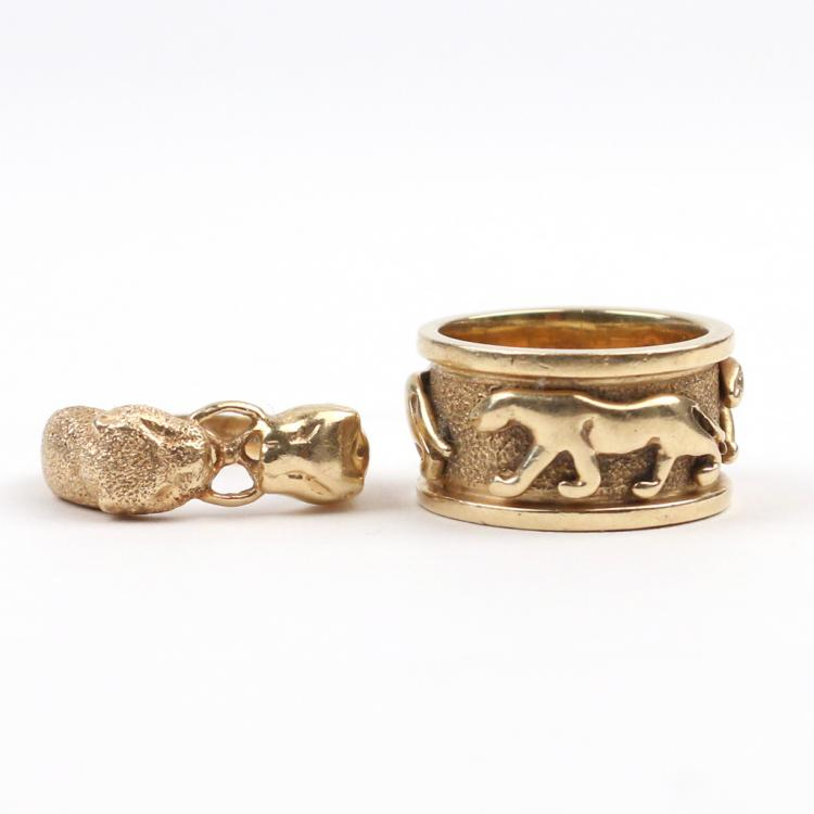 (2pc) PANTHER FORM 14k GOLD RINGS