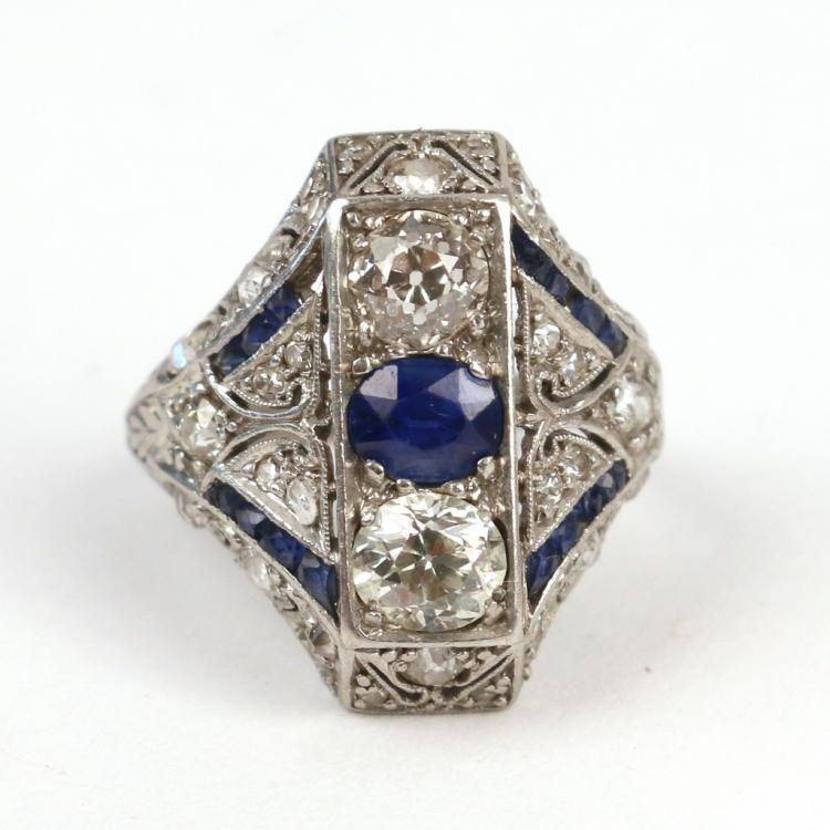 ART DECO DIAMOND & SAPPHIRE COCKTAIL RING