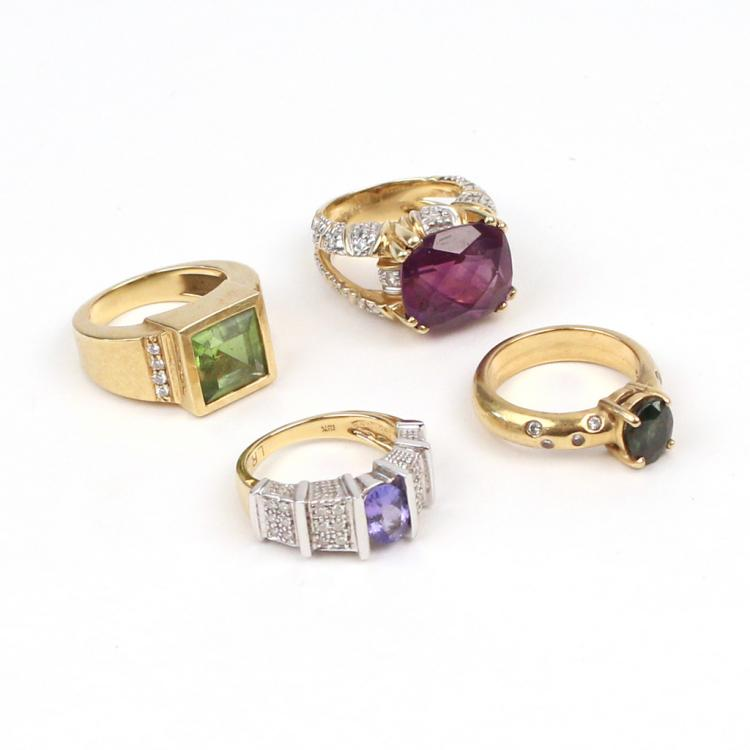 (4pc) 18k GOLD & GEMSTONE RINGS