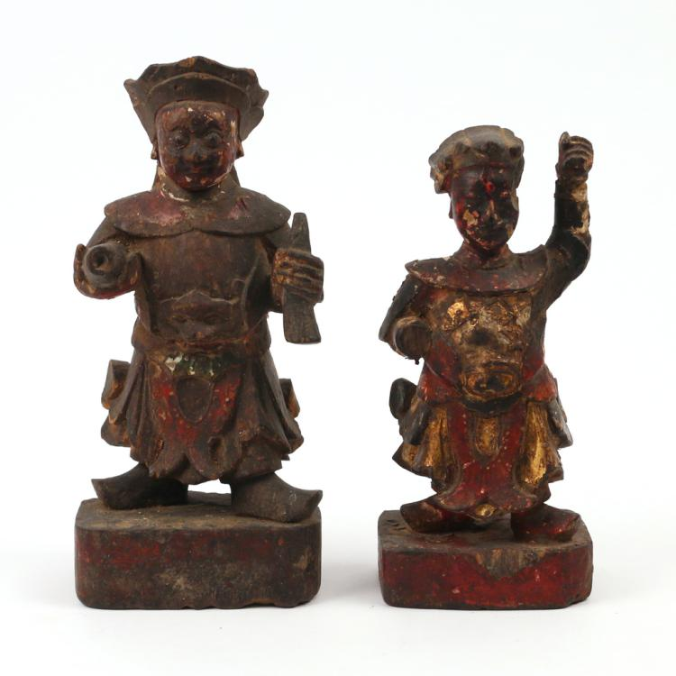 (2pc) CHINESE CARVED GUARDIAN FIGURES