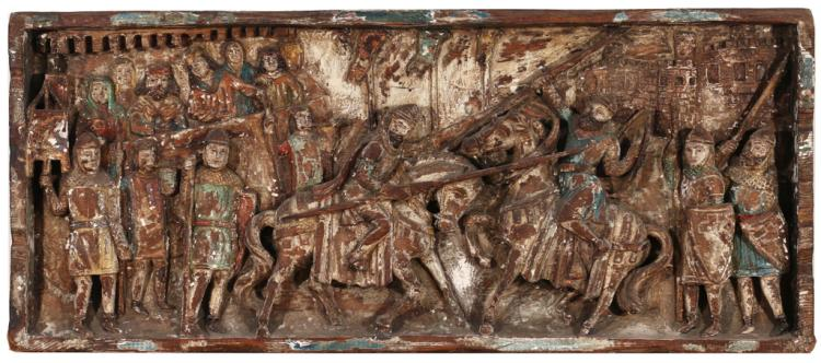 CONTINENTAL POLYCHROME RELIEF CARVING