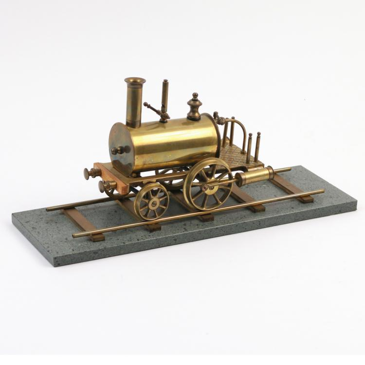 BRASS MODEL STEAM ENGINE ON TRACK