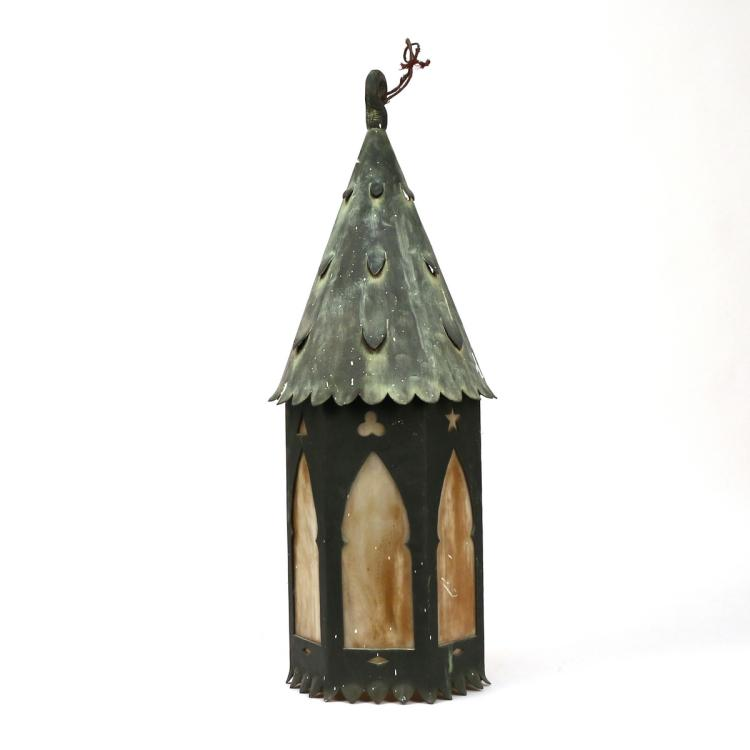 SLAG GLASS & METAL HANGING LANTERN
