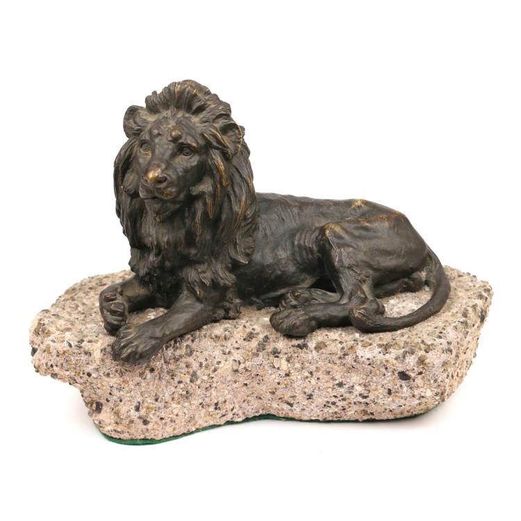 BRONZE RECUMBENT LION