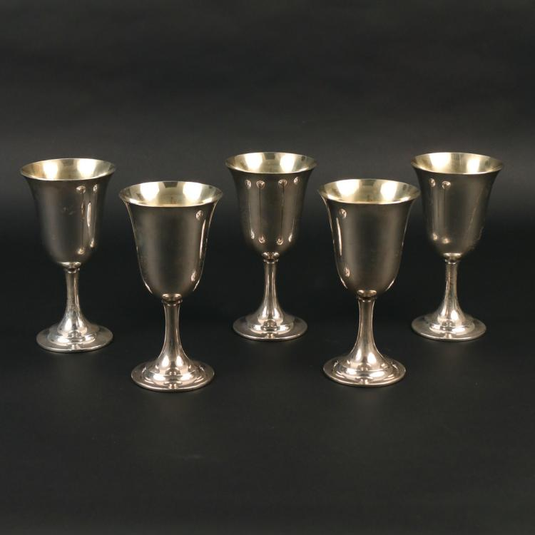 (5pc) INTERNATIONAL STERLING GOBLETS