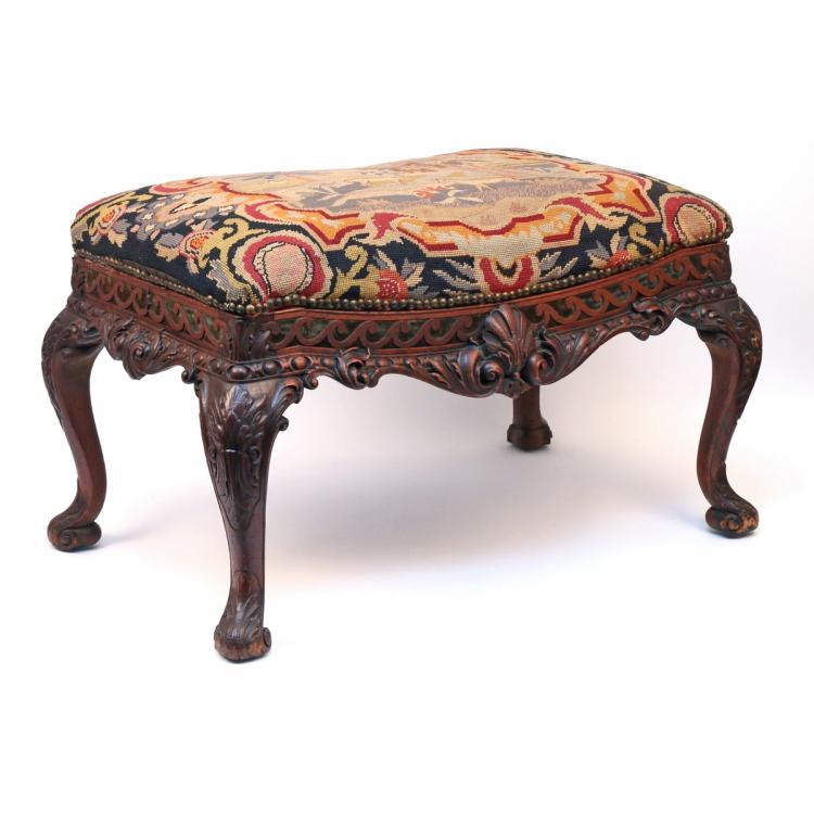 FINE CHIPPENDALE-STYLE CARVED NEEDLEPOINT STOOL