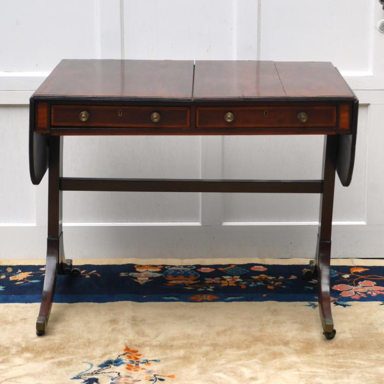 REGENCY INLAID MAHOGANY SOFA TABLE