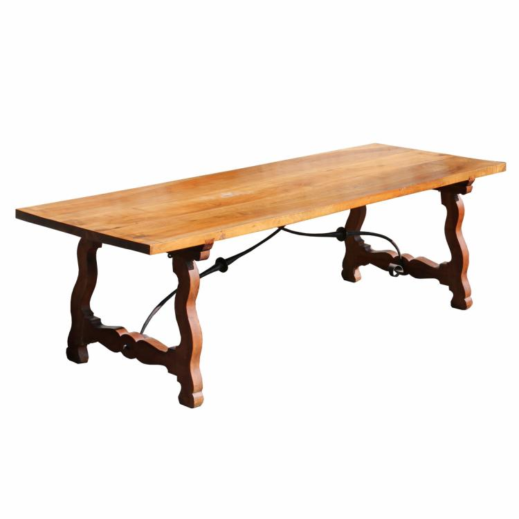 SPANISH BAROQUE-REVIVAL TRESTLE-BASE TABLE