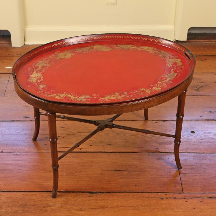 19th C. TOLE-PEINTE TRAY TABLE
