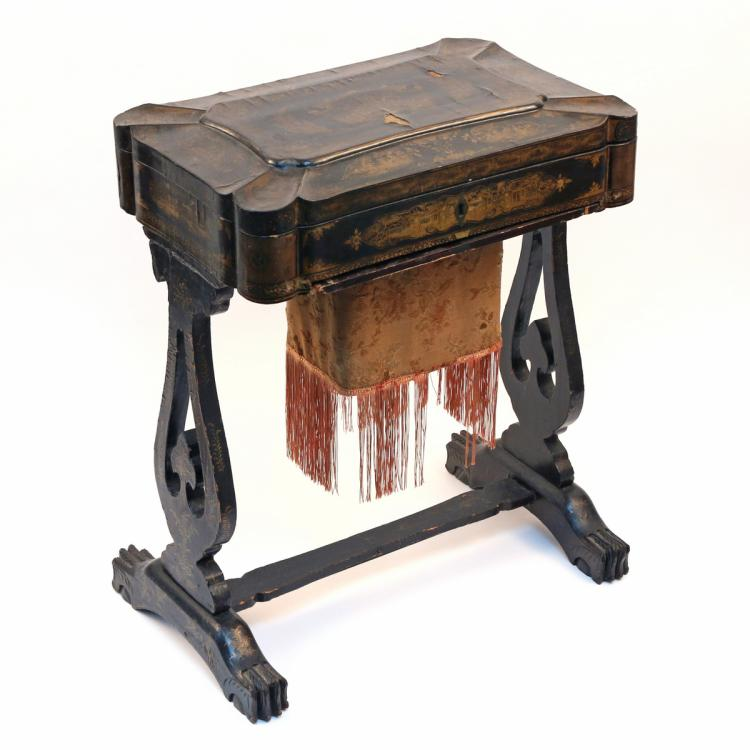 LACQUERED CHINESE EXPORT SEWING TABLE