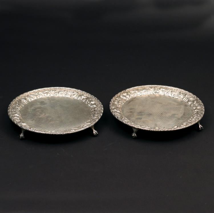 PAIR S. KIRK & SONS FOOTED SALVERS
