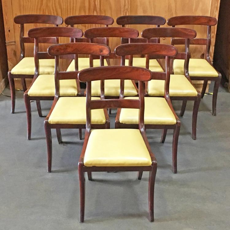 SET 10 FEDERAL SABER LEG MAHOGANY SIDE CHAIRS