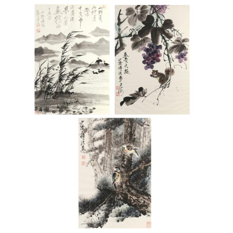 (3pc) CHINESE INK WASH PAINTINGS
