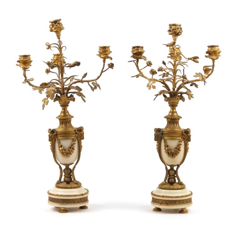 PAIR FRENCH ORMOLU & MARBLE CANDELABRAS
