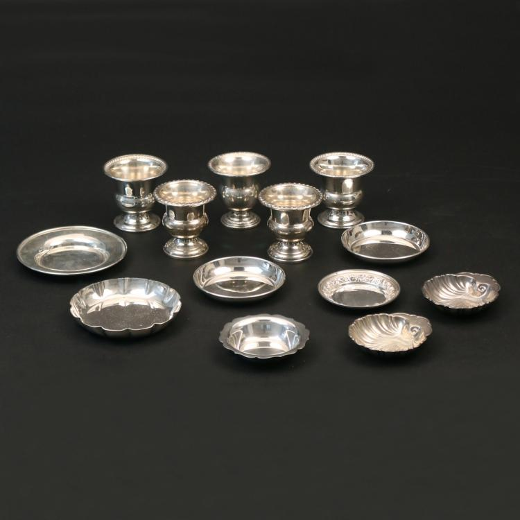 (13pc) MISC. STERLING ASHTRAYS & CIGARETTE URNS