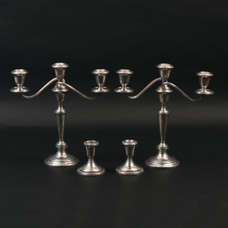 (4pc) WEIGHTED STERLING CANDLESTICKS