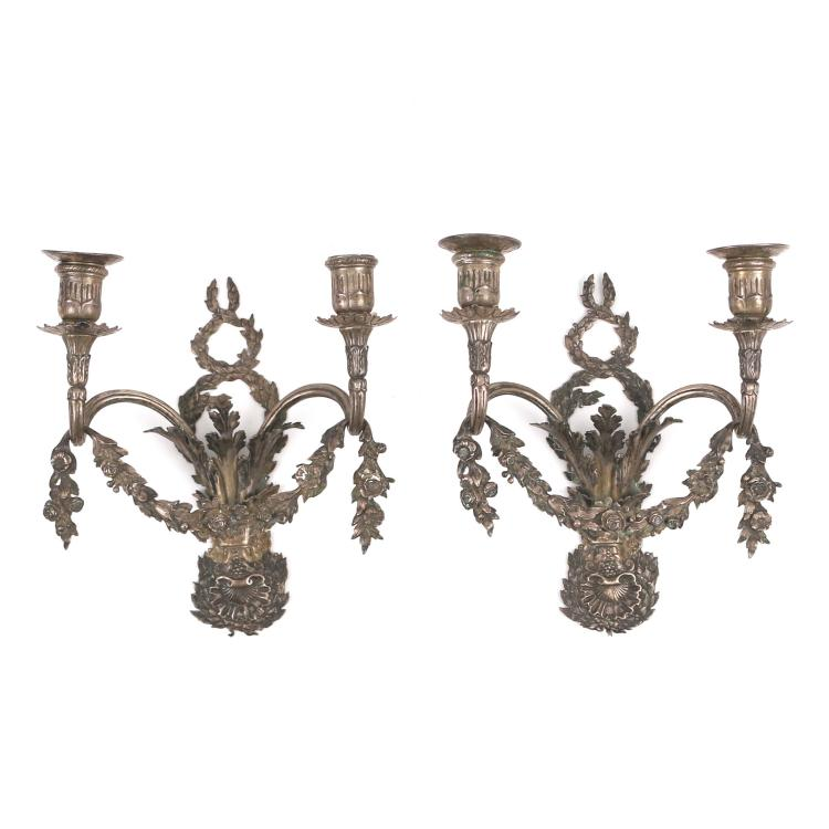 PAIR SILVER TWO LIGHT WALL SCONCES