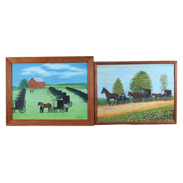 (2pc) ZARTMAN AMISH PRIMITIVE PAINTINGS