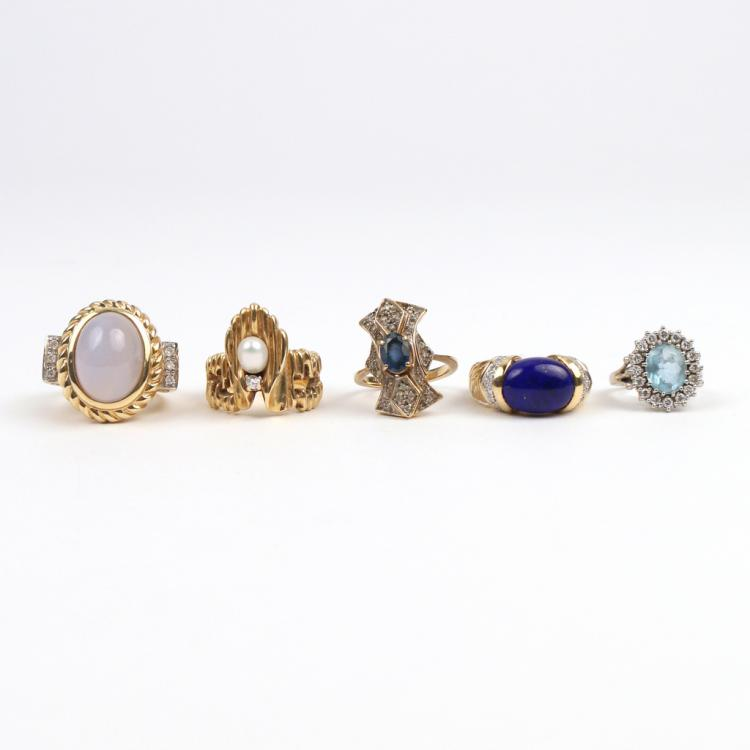 (5pc) SEMI-PRECIOUS GEM & 14k GOLD RINGS