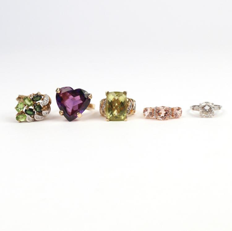 (5pc) 14k GOLD & GEMSTONE RINGS