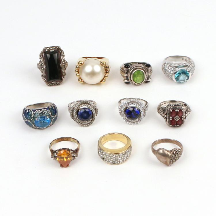 (11pc) SILVER & GEMSTONE RINGS