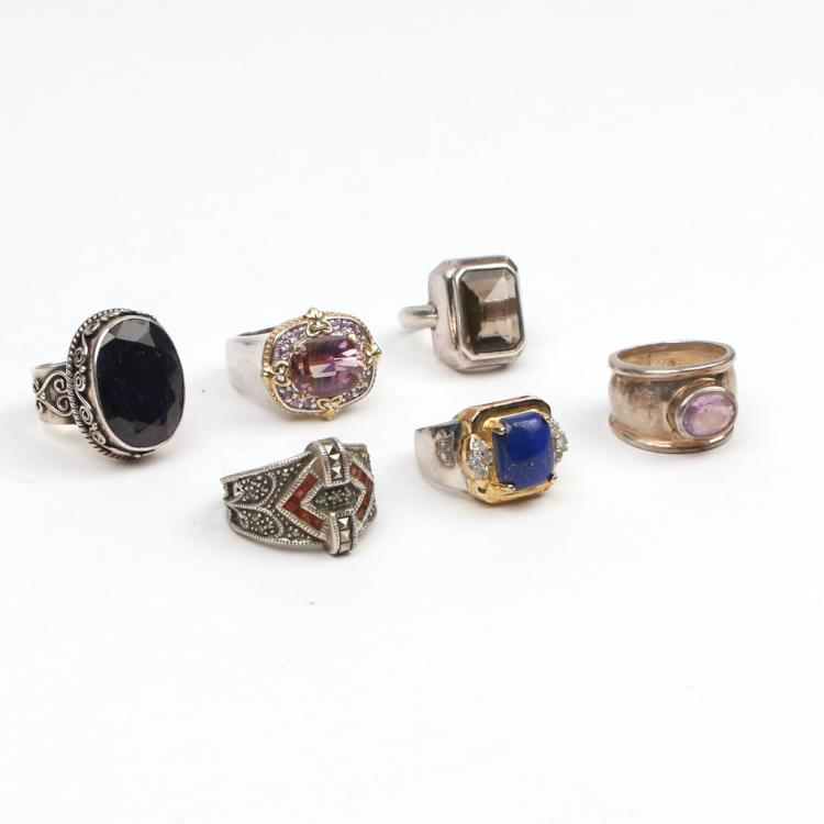 (6pc) STERLING AND SEMI-PRECIOUS GEMSTONE RINGS