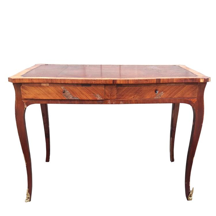 19TH C. LOUIS XV-STYLE VENEERED BUREAU PLAT